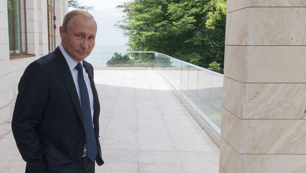 Президент РФ Владимир Путин перед встречей с федеральным канцлером ФРГ Ангелой Меркель в Сочи. 18 мая 2017