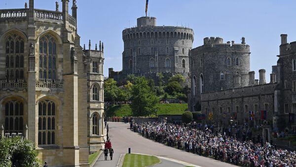 Британский принц Гарри к часовне Святого Георгия в Виндзорском замке. 19 мая 2018