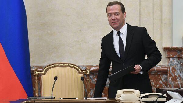 Председатель правительства РФ Дмитрий Медведев на заседании правительства РФ в новом составе. 22 мая 2018