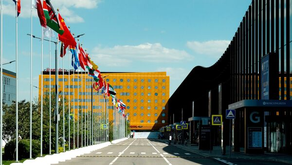 Конгрессно-выставочный центр Экспофорум накануне открытия Санкт-Петербургского международного экономического форумаПодготовка к ПМЭФ-2018