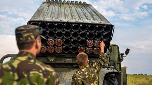 Украинская реактивная система залпового огня Град в Луганской области