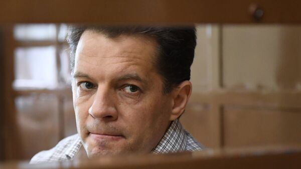 Роман Сущенко в Московском городском суде во время оглашения приговора