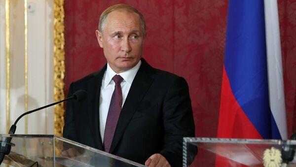 Президент РФ Владимир Путин на пресс-конференции по итогам встречи с федеральным президентом Австрии Александром Ван дер Белленом во дворце Хофбург в Вене. 5 июня 2018