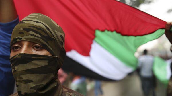 Боец в маске под флагом Палестины