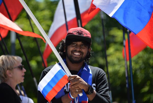 Мужчина во время празднования Дня России в Симферополе. 12 июня 2018
