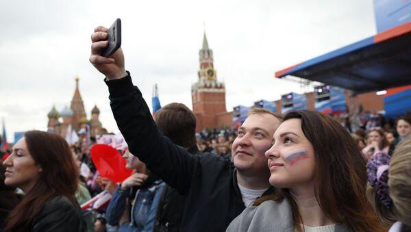 Участники празднования Дня России на Красной площади. 12 июня 2018