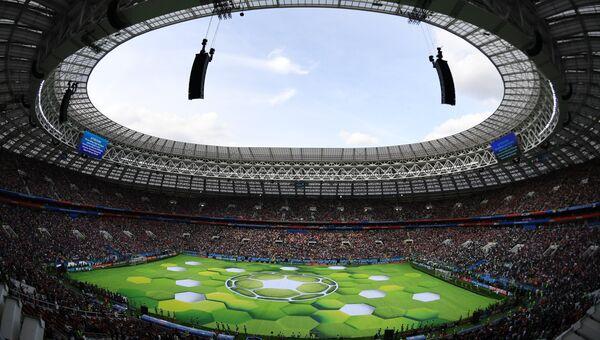 Стадион Лужинки перед началом матча группового этапа чемпионата мира по футболу между сборными России и Саудовской Аравии