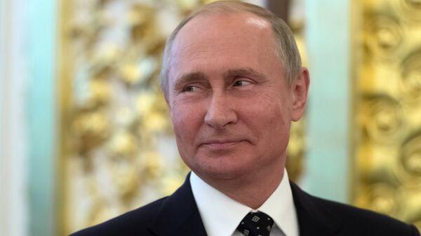 Президент РФ Владимир Путин на торжественном приеме в Кремле