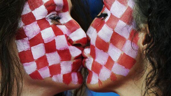 Болельщицы сборной Хорватии в матче группового этапа чемпионата мира по футболу между сборными Исландии и Хорватии