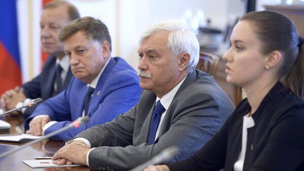 Губернатор Санкт-Петербурга Георгий Полтавченко во время встречи с делегацией сената США в Смольном дворце. 2 июля 2018