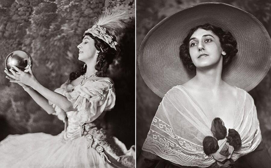 Слева: Матильда Кшесинская в роли Армиды. Справа: Тамара Карсавина, студийный портрет