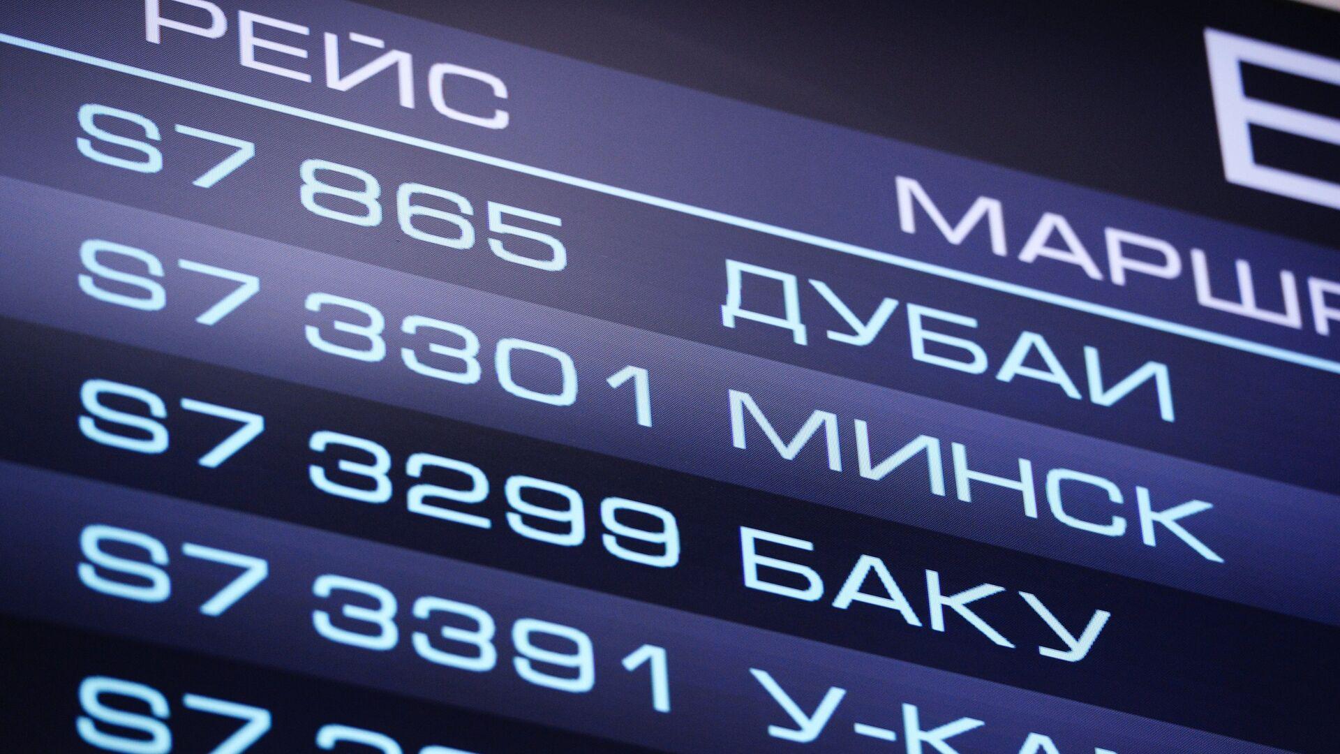 Табло с информацией о рейсах отправления в аэропорту - РИА Новости, 1920, 29.04.2021