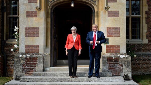 Премьер-министр Великобритании Тереза Мэй и президент США Дональд Трамп во время встречи