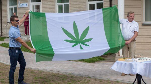 Флаг с изображением конопли у здания волостного управления Канепи, Эстония. 13 июля 2018