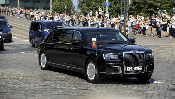 Лимузин проекта Кортеж в Хельсинки перед встречей Владимира Путина и Дональда Трампа. 16 июля 2018