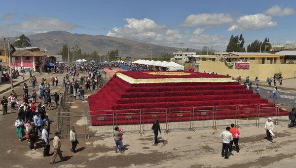 Пирамида из полумиллиона роз в городке Педро-Монкайо, Эквадор