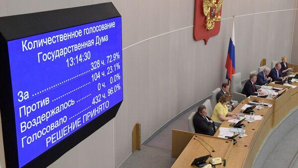 Табло с результатами голосования на пленарном заседании Государственной Думы РФ