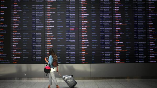 Пассажир у табло  в терминале B международного аэропорта Шереметьево. Архивное фото