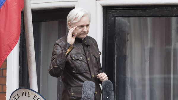 Сооснователь WikiLeaks Джулиан Ассанж на балконе здания посольства Эквадора в Лондоне