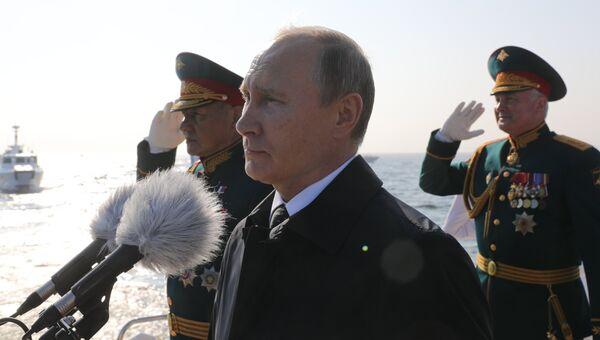Президент РФ Владимир Путин на Главном военно-морском параде. 29 июля 2018