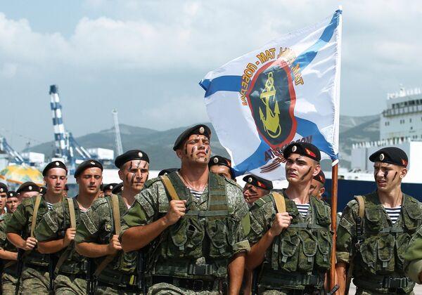 Военнослужащие спецподразделения Черноморского флота на праздновании Дня Военно-Морского Флота в Новороссийске