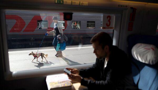 Пассажир в поезде на Московском вокзале в Санкт-Петербурге. Архивное фото