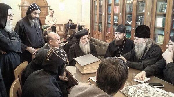 Встреча представителей Русской православной церкви с настоятелем коптского монастыря святого Макария в Египте епископом Епифанием в 2016 году
