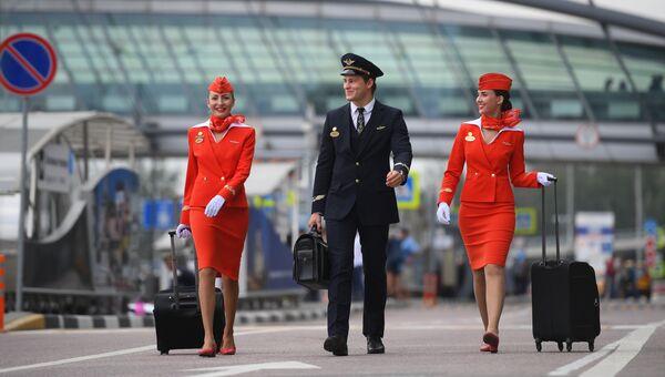 Бортпроводники авиакомпании Аэрофлот. Архивное фото