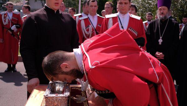 Встреча ковчега с мощами святителя Спиридона Тримифунтского в аэропорту Краснодара. 24 августа 2018