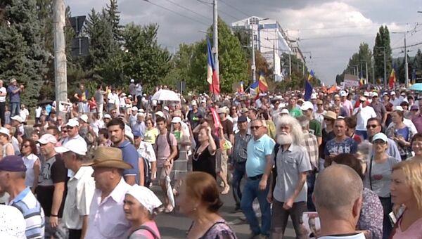 Многотысячные протесты в центре Кишинева