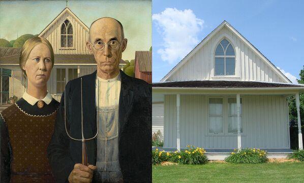 Картина Гранта Вуда Американская готика и ее дом-прототип в Элдоне