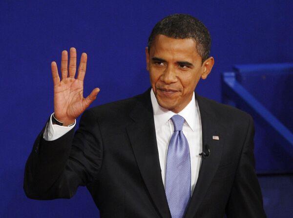Кандидат в президенты США Барак Обама во время предвыборных теледебатов
