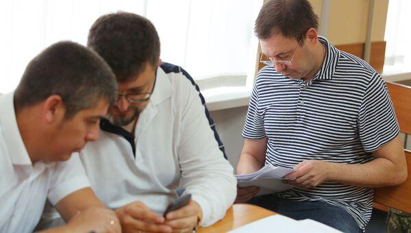 Руководитель портала РИА Новости Украина Кирилл Вышинский в зале апелляционного суда Херсонской области Украины. 5 сентября 2018
