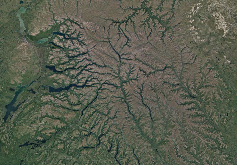 Плато Путорана. Снимок со спутника
