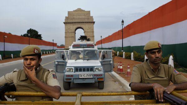 Сотрудники полиции в канун Дня независимости в Нью-Дели, Индия
