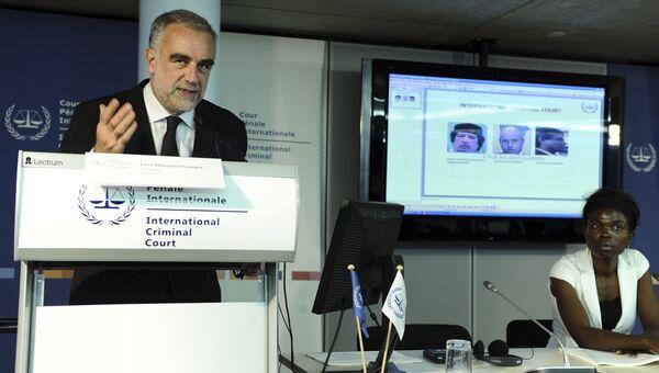 Пресс-конференция в Международном уголовном суде в Гааге, посвященная событиям в Ливии.  28 июня 2011