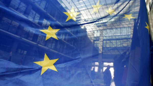 Флаг ЕС в штаб-квартире Европейского Союза в Брюсселе