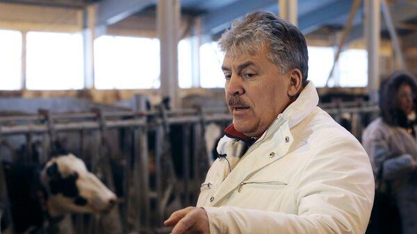 Павел Грудинин на молочной ферме в поселке Совхоза имени Ленина