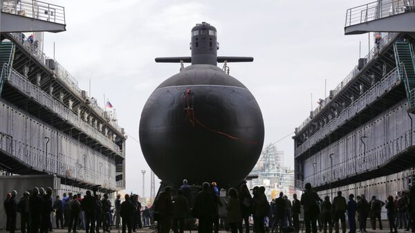 Торжественная церемония спуска на воду дизель-электрической подводной лодки Кронштадт проекта 677 Лада на Адмиралтейских верфях в Санкт-Петербурге.  20 сентября 2018 года