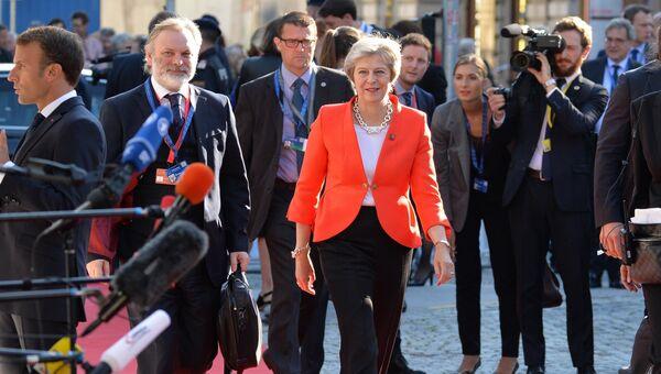 Премьер-министр Великобритании Тереза Мэй перед началом неформального саммита глав стран-членов ЕС в Зальцбурге. 20 сентября 2018