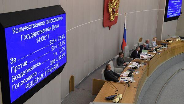 Табло с результатами голосования на заседании Государственной Думы РФ о принятии во втором чтении законопроекта о пенсионной реформе. 26 сентября 2018