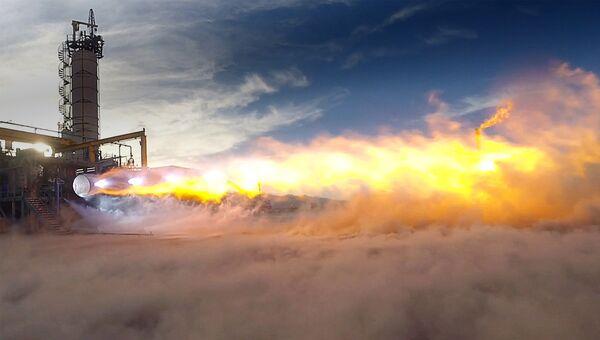 Испытания двигателя BE-4 на заводе компании Blue Origin. Архивное фото
