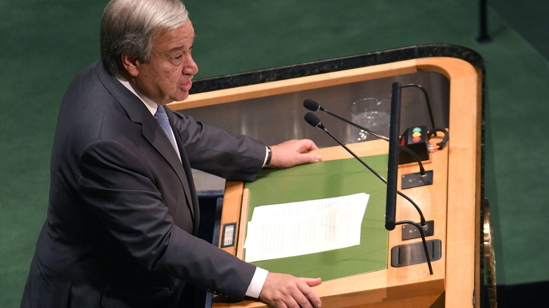 Генеральный секретарь ООН Антониу Гутерреш выступает на открытии Генеральной Ассамблеи Организации Объединенных Наций в Нью-Йорке. 18 сентября 2018 - РИА Новости, 1920, 12.12.2020
