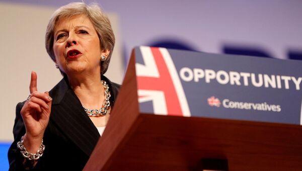 Премьер-министр Великобритании Тереза Мэй на закрытии съезда Консервативной партии. 3 октября 2018