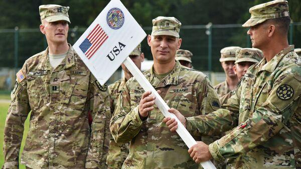 Военнослужащие армии США на открытии многонациональных учений Rapid Trident-2018 на Яворовском полигоне во Львовской области