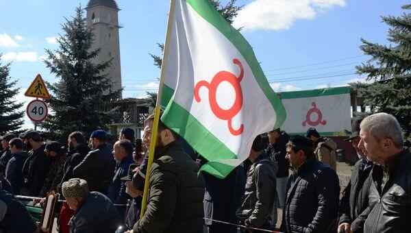Участники митинга, несогласные с соглашением об определении границы между Республикой Ингушетия и Чеченской Республикой, в Магасе. 6 октября 2018