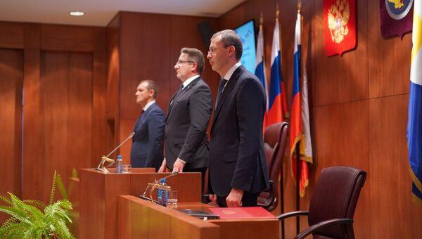 Губернатор Чукотки Роман Копин во время вступления в должность. 8 октября 2018