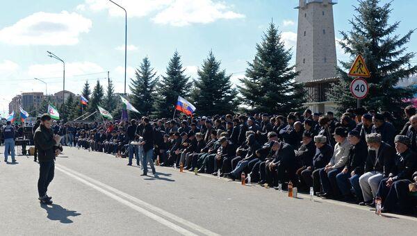 Митинг в Магасе против установления границы с Чеченской Республикой. Архивное фото