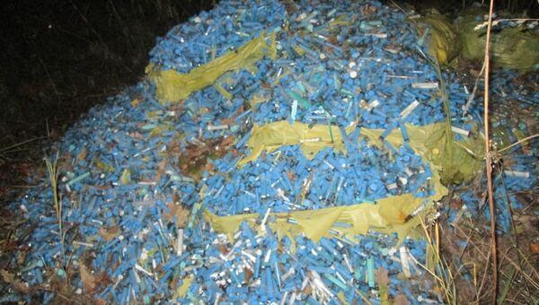 Стихийная свалка медицинских отходовв в садоводческом некоммерческом товариществе Пищевик Ленинского района города Тулы
