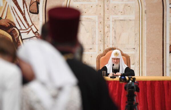 Патриарх Московский и всея Руси Кирилл выступает на VIII Общецерковном съезде по социальному служению